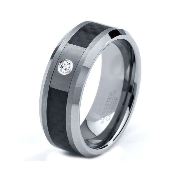 Mens Tungsten Carbide Wedding Band Ring 8mm White by GiftFlavors, $117.77
