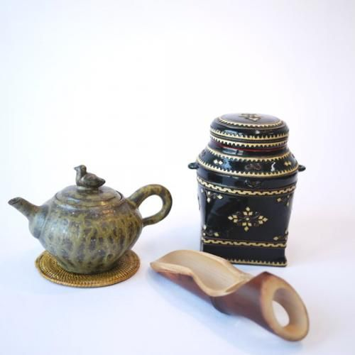 【茶筒】ミャンマー製漆器 籃胎漆器螺鈿筒 | タイ工藝ムラカ