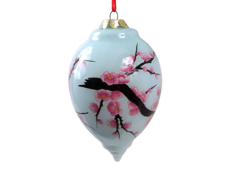 Pale Blue Cherry Blossom Teardrop Glass Elgomise Ornament