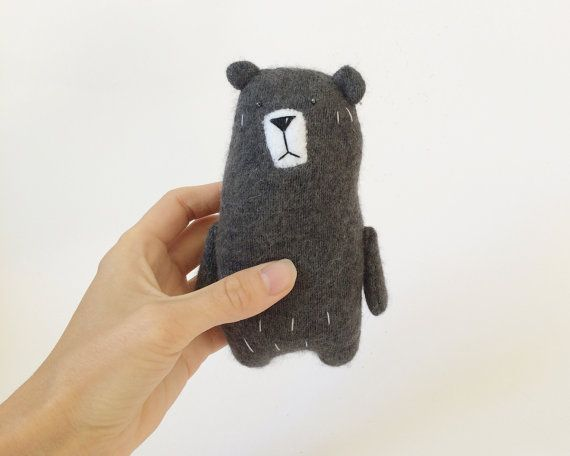Grey Plush Bear Recycled Sweater Bear Stuffed Miniature by Amuru