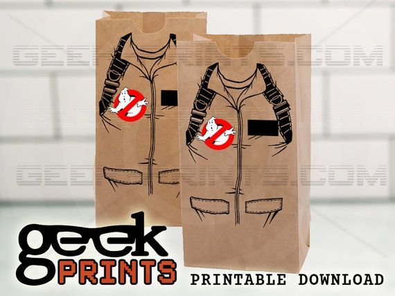 DIGITAL ITEM ----------- This is NOT a licensed product.  **************************************************************  ****** NO REFUNDS FOR DOWNLOADED ITEMS *******  **************************************************************  Send your party guests home with an awesome grab bag full of favors! Use this printable to create a Ghostbusters uniform bag. The label is available to fit two size bags, 5x8 and 8x10. INCLUDES: 5 Digital Files with label and patches in two sizes 5x8 line art…
