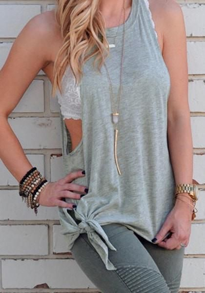 This cool, comfy grey loose knot-side tank top is definitely going to be your new favorite gym buddy.