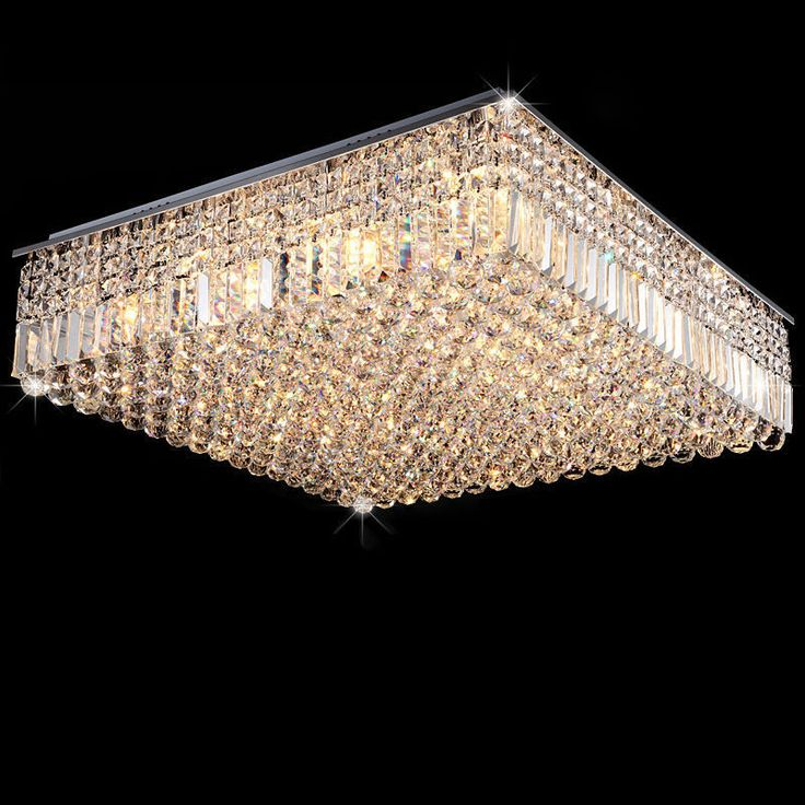 Contemporary Clear Crystal Chandelier Pendant Square Flush