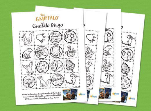 The Gruffalo Bingo – Crafts | Preschool Crafts Bingo goes along with the animated movie