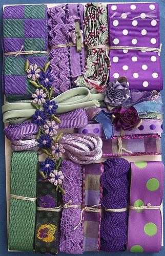 crazy quilts ribbon pearls | ... Crazy Quilt Embellishment Assortment - Purples Assorted, Crazy Quilt
