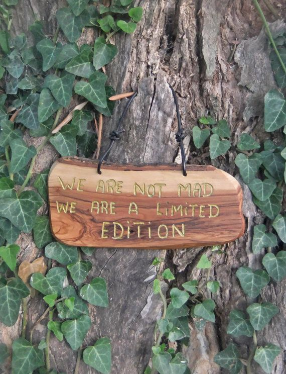olive wood wall plaque  We Are Not Mad We Are A by ellenisworkshop, $39.00