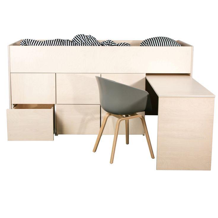 AVA Kalusteet - Lastenhuone - AVA Pikkuparvi - AVA Pikkuparvi työpöytä + laatikot 6 kpl KOIVUVANERI - AVA Room Oy