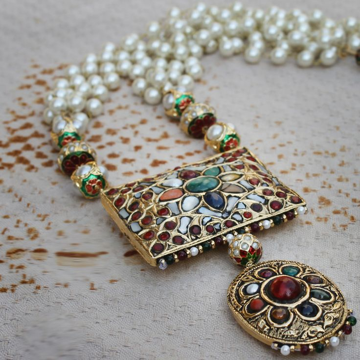 Pearl 4 Strand Navratan Pendant Necklace Set @ Indiatrend For $131.99USD