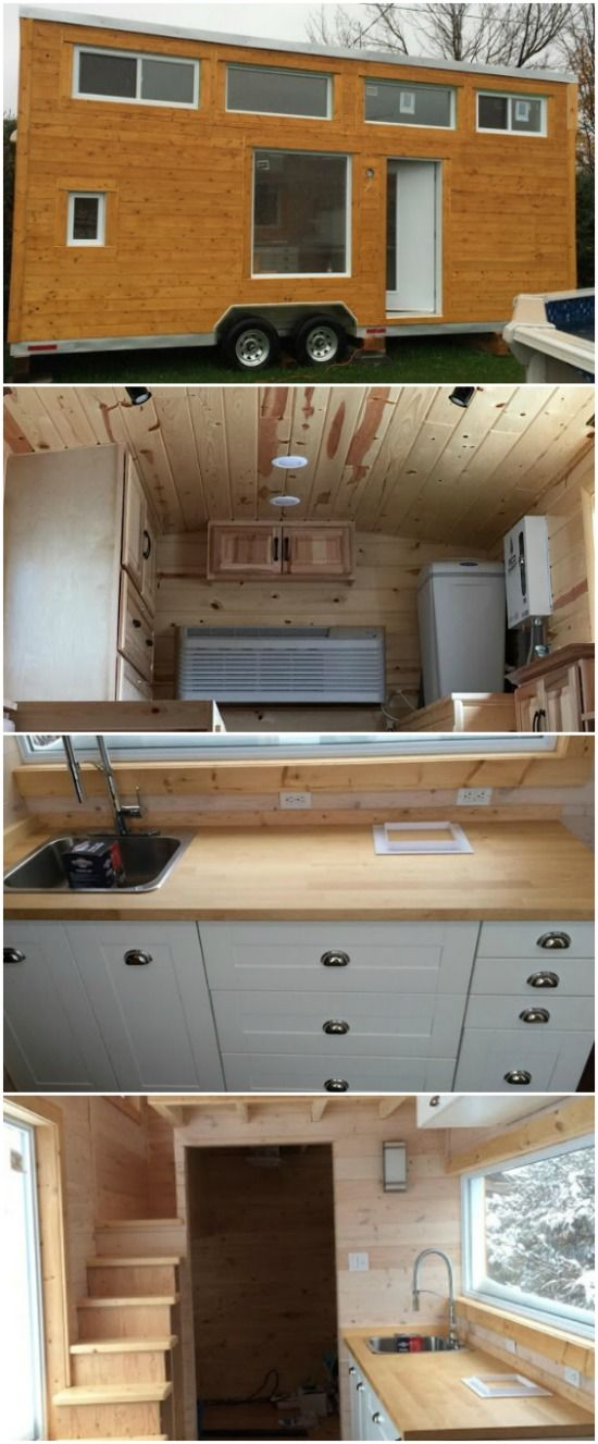 Cozy Canadian Tiny House Up for Sale in Quebec - An adorable cozy house is currently for sale in Quebec and we had to share it with you while it's still up for grabs! This home is built on a 24-foot long double axel trailer and is made from wood panels and plywood for a light and green tiny house.