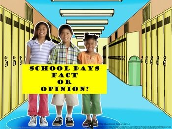 Price $4.00 Happy days are here again! In School Days Fact or Opinion, learners answer questions and might use an encyclopedia or…