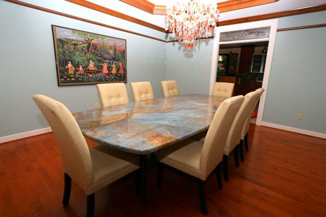 Louise Blue Granite dining table