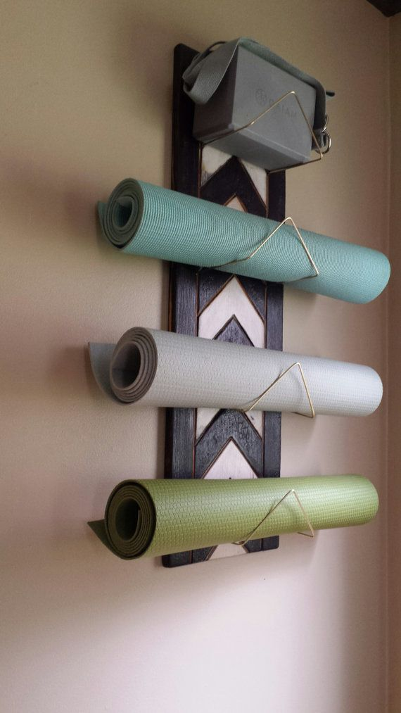 4 Tier Chevron Yoga Mat Holder - Wall mounted, yoga supplies, yoga decor, rustic, wood, yoga studio, yoga gift, handmade