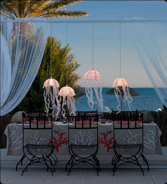 DIY jellyfish lamps to light up your party! Beach Crafts: http://pinterest.com/complcoastal/beach-crafts/