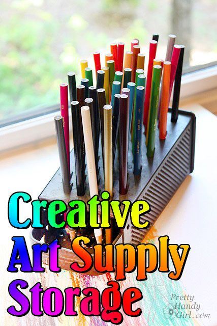 creative ways to store and display art supplies (craft supply organization, too.) by pretty handy girl
