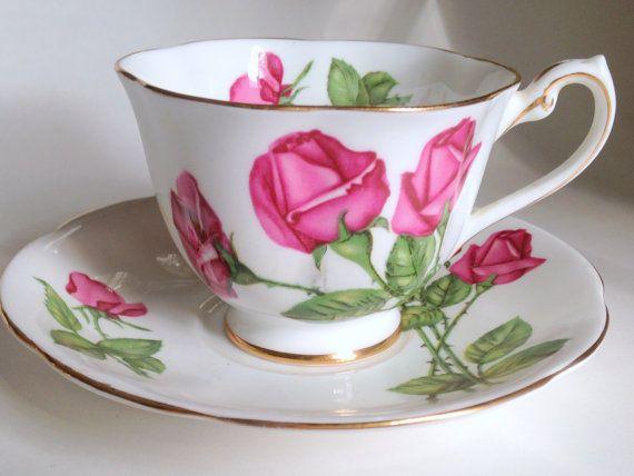 Large Rose Royal Standard Tea Cup and Saucer, Bone China Teacups, English Teacups, Tea Set, Rose China Tea Cups, VogueTeam