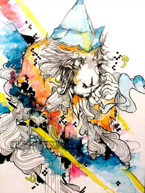 This is a Watercolor art, animal art piece of the original watercolor monkey art piece titled  Somewhere Over The Rainbow by Princess M. This