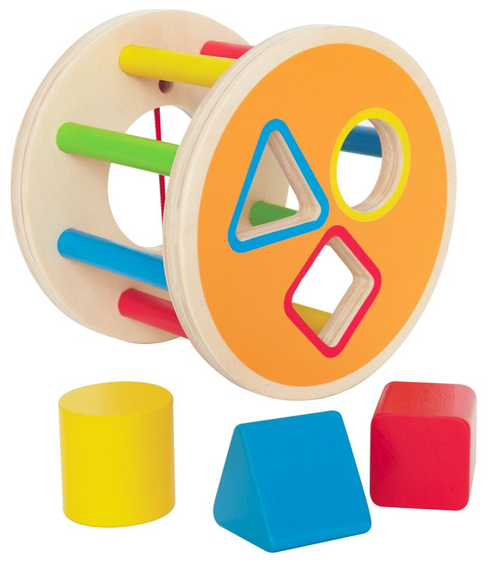 Hape Wooden Shape Sorter $15.50 This is great for fine motor skills: Promotes dexterity, hand/eye coordinations, and manipulations.  Problem Solving: Introduces logic, matching, spatial relationships, critical thinking, and an understanding of cause and effect. Measures 14cm x 11cm 12mths +