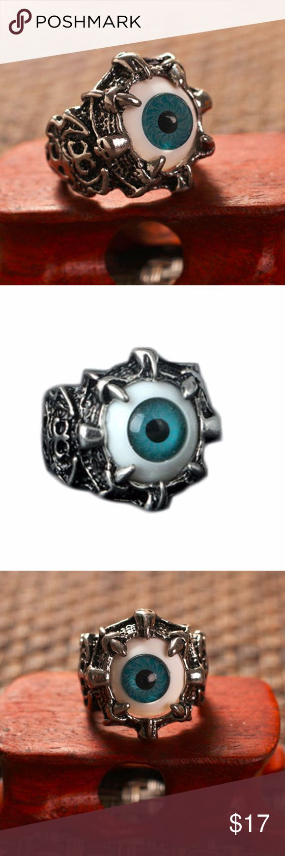 Dragon Claw Evil Eye Skull biker ring men women 100% SATISFY 100% TOP SERVICE  HOT DEAL!  IF YOU LIKE ANY ITEMS; MAKE AN OFFER. DON'T MISS BCZ OF PRICE! I WILL HANDLE THE REST :)) US SELLER! FAST SHIPPING 100% Brand New and High Quality Material: High quality 316L surgical stainless steel and acrylic. Color: silver & antique metal finished with black ocular prosthesis (artificial eye) Size: US Size 9-11 Color: Green Package contents: 1 x Ring Accessories Jewelry