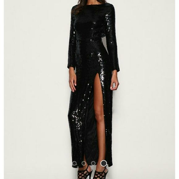 Asos long black sequin dress Long sleeve long black sequin dress with a side split, very sexy has an open back detail with hook and eye closing but one is missing ASOS Dresses