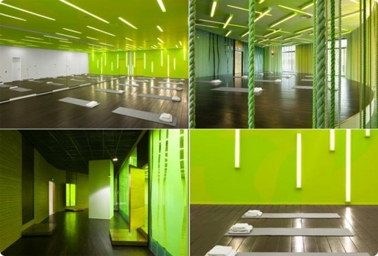 Home gym decorating ideas with green floor