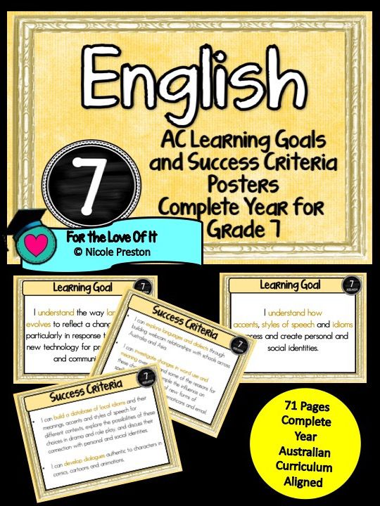 Grade 7 All English Learning Goals & Success Criteria! Compatible with ALL STATES – AUSTRALIAN CURRICULUM This packet has all the posters you will need to display the learning goals for the whole year: Grade 7 Australian Curriculum English – Reading and Writing– Speaking and Listening(Language, Literature, Literacy) All content …