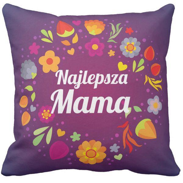 Poduszka kwiaty Najlepsza Mama pod-6526   poduszki i poszewki ozdobne na ArtMini.pl