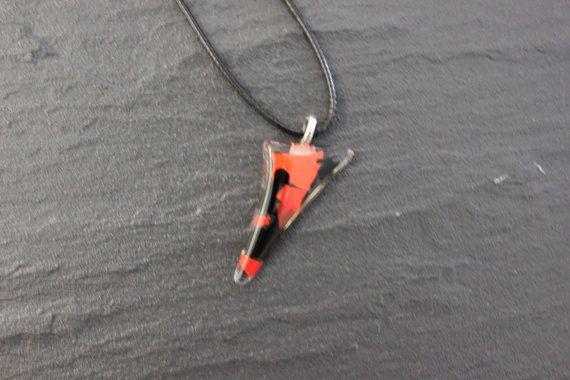 Orange and Black Glass Fused Pendant Tornedo by GlassJewelleryByJ