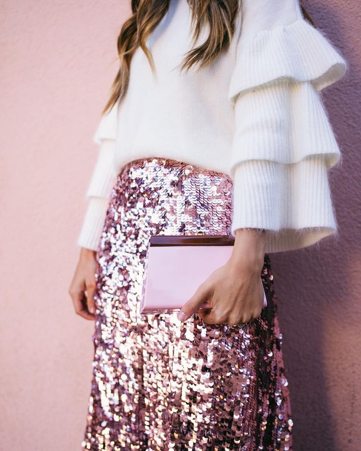 A whole lot of holiday sparkle over on galmeetsglam.com today 💫 And this pink sequin skirt is 30% off until Monday! (Link in profile) #holidaystyle #sequins #pink #ruffles #sparkle #pinksequins