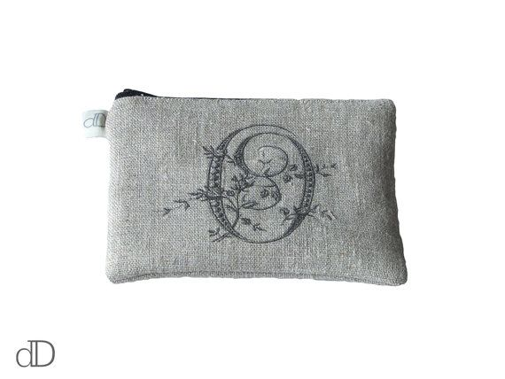 Make Up Bag / Cosmetic Bag /  Purse with Monogram print on linen