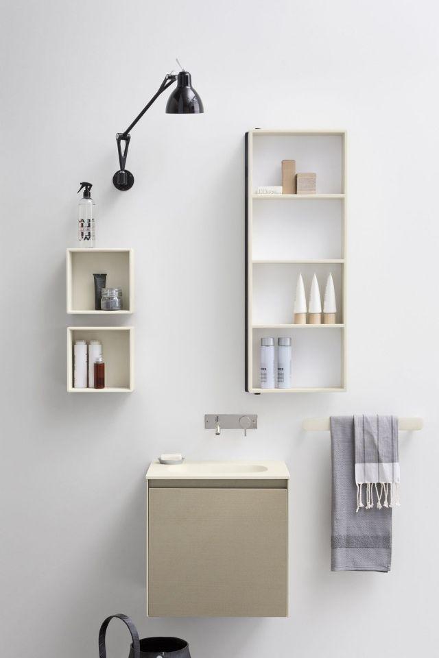 Badezimmer-Spiegelschrank Moode-Set mit Regalwürfel-Corian Waschbecken