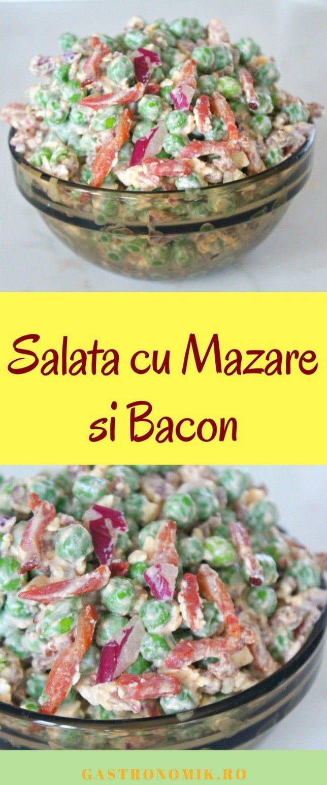 SALATA DE MAZARE SI BACON - Iti plac combinațiile cremoase, brânzoase și crocante? Încearcă să faci această salata de mazare cu bacon si branza feta, condimentata cu boia iute!