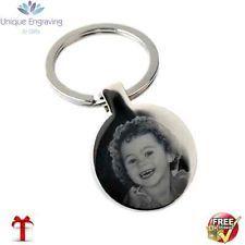 Metal Personalised Photo Engraved Round Keyring - FREE UK POSTAGE Ideal Gift