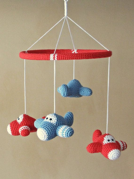 Baby crib mobile crochet airplanes organic cotton by ByMarika