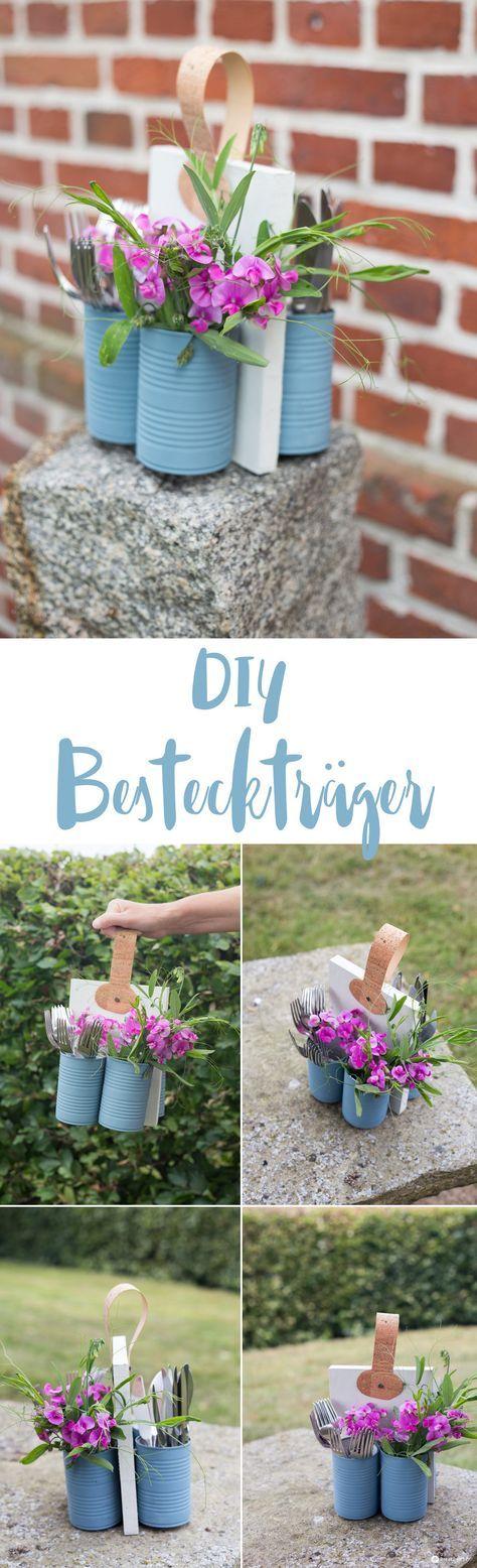 DIY Besteckständer zum Grillen – Upcycling Idee mit Holz, Kork und Dosen – Anl …   – Bastelideen