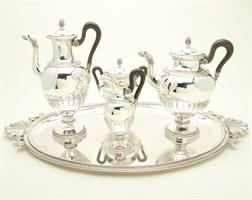Christofle Sterling,4pc Tea & Coffee Set ,Empire Style,88.50 Troy Oz. 4PC. CHRISTOFLEST.W/TR With Matching Plated Tray.