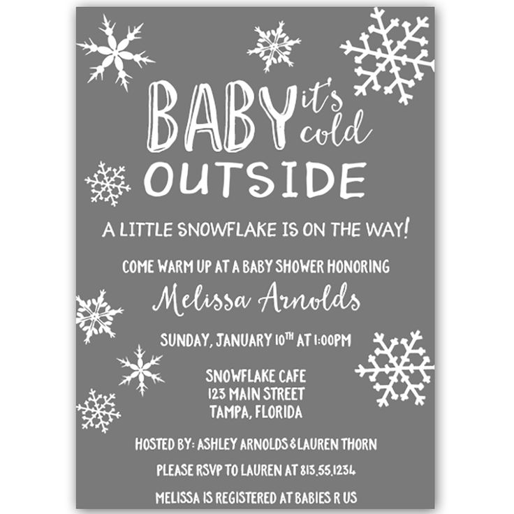 Little Snowflake Neutral Baby Shower Invitation - Invite guests to your gender neutral baby shower with this simple winter themed invitation featuring snowflakes and decorative white lettering on a gray background.