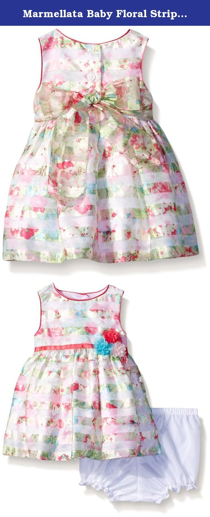 Marmellata Baby Floral Striped Party Dress, Multi, 6-9 Months. This fun floral dress has a hint of sparkle and a full party skirt.