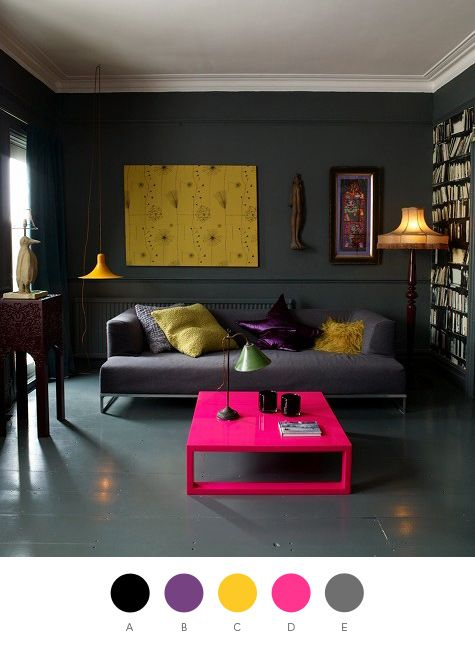 though the room is a little dark for me, i LOVE the yellow painting, grey couch and lamps.: Color Palettes, Living Rooms, Pink Table, Color Schemes, Wall Color, Interiors Design, Grey Wall, Hot Pink, Dark Wall