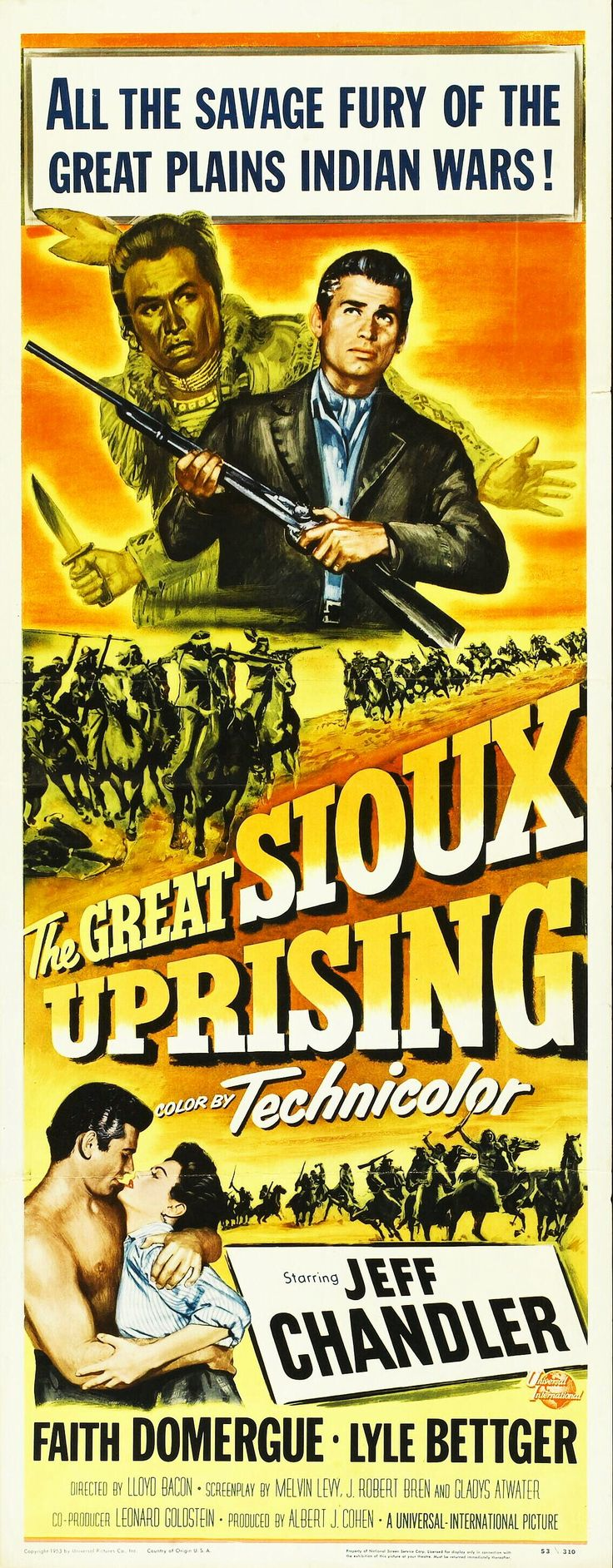 THE GREAT SIOUX UPRISING (1953) - Jeff Chandler - Faith Domergue - Lyle Bettger - Directed by Lloyd Bacon - Universal-International Pictures - Insert Movie Poster.