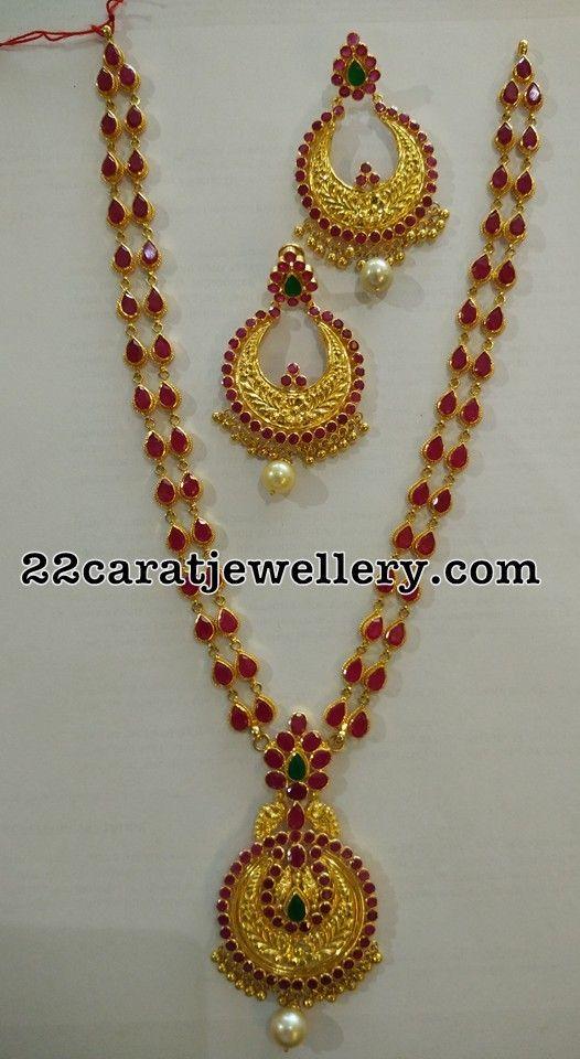 Ruby Long Chain Chandbalis - Jewellery Designs