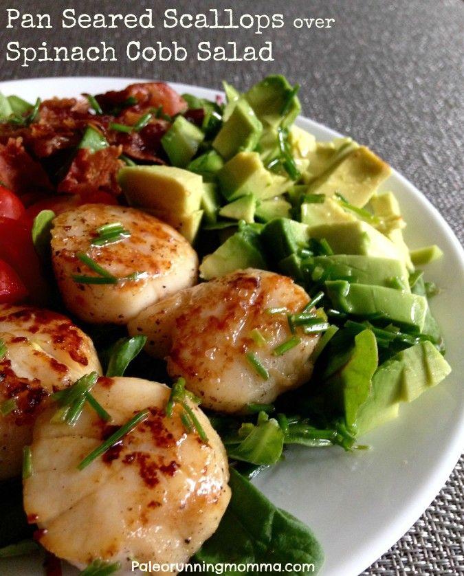 Pan Seared Scallops Over Spinach Cobb Salad - gluten free, grain free, paleo, whole30 friendly, sugar detox friendly
