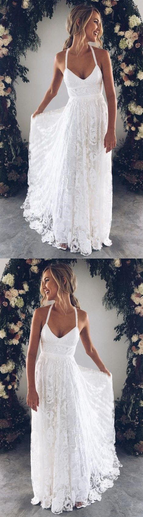 White Bridal Dress V Neck Party Dress Spaghetti Prom Dress Lace Long Prom Dress, White Evening Dress Wedding Dress Charming Bridal Dresses
