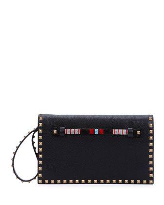 Rockstud Medium Beaded Flap Clutch Bag, Black by Valentino at Neiman Marcus.