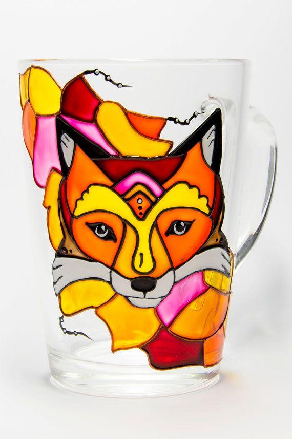 Fox Mug Woodland Animals Fox Gift by Vitraaze on Etsy