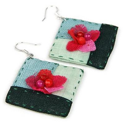 "Ramie fabric earrings named by  ""Call myself""- Korean traditional needlework"