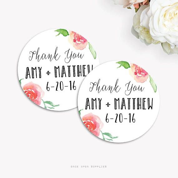 Wedding Favor Labels With Watercolor Florals Wedding Thank You