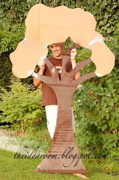 Cardboard giving tree - adorn with peaches and martlets that describe auction wish list items