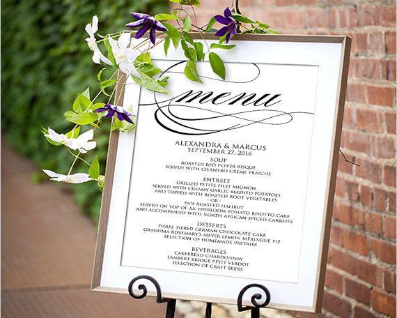 10 best Printable Wedding Menus images on Pinterest Card wedding - wedding menu