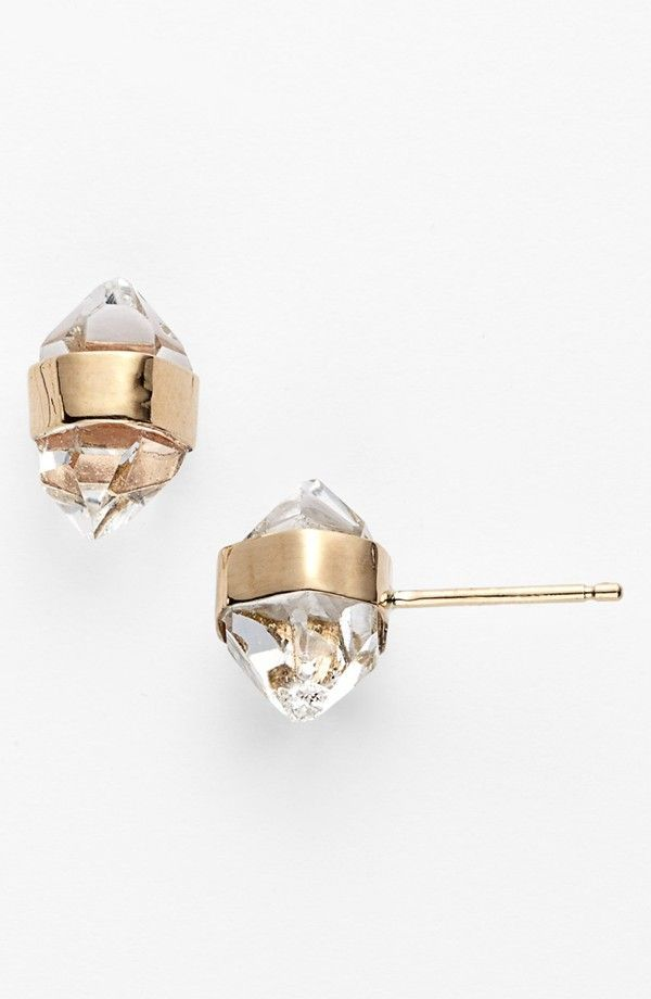 Herkimer diamond and gold earrings!