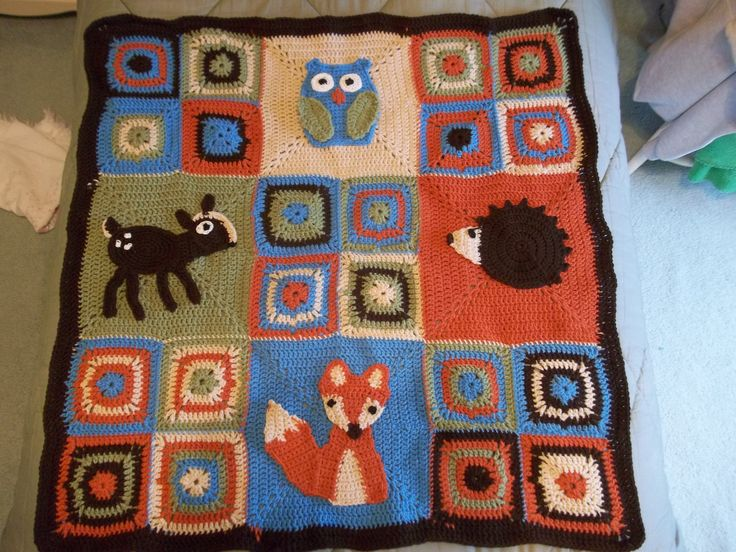 Woodland Baby Blanket Crocheted Granny Square Stitch